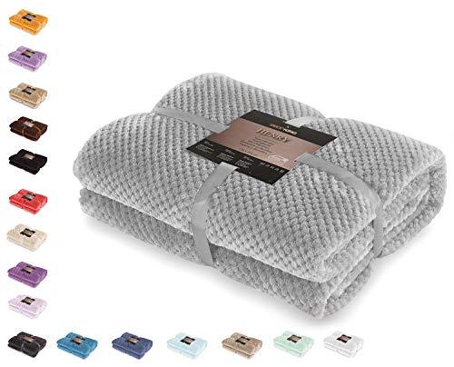 DecoKing 66270 Kuscheldecke 70x150 cm Stahl Decke Microfaser Wohndecke Tagesdecke Fleece weich sanft kuschelig skandinavischer Stil grau anthrazit Henry