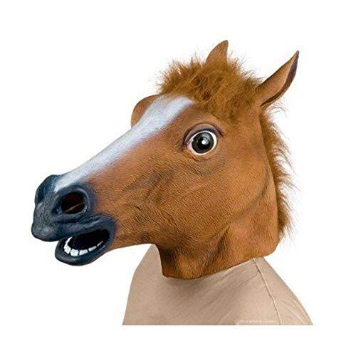 Lypumso Pferdemaske, Pferdekopfmaske Halloween Maske Latex Tiermaske Pferdekopf Pferd Kostüm (Braun 2)