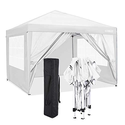 COBIZI Pavillon 3x3 Wasserdichter Gartenpavillon Zelt Hochzeitsfeier Instant Event Shelter mit 4 Abnehmbaren Seitenwänden, Pfähle x 8, Seile x 4