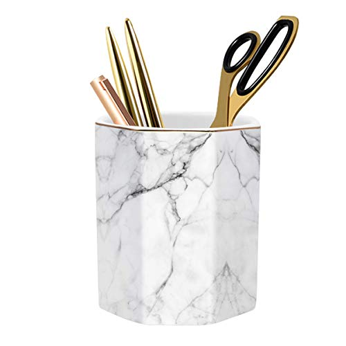 WAVEYU Pen Holder, Stand for Desk Pencil Cup for Girls Kids Durable Ceramic Desk Organizer Makeup Brush Holder Ideal Gift for Office, Classroom, Home, White Marble