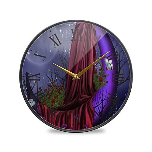 Luna De Mariposa Arte Reloj de Pared Silencioso Decorativo Relojs para Niños Niñas Cocina Hogar Oficina Escuela Decoración