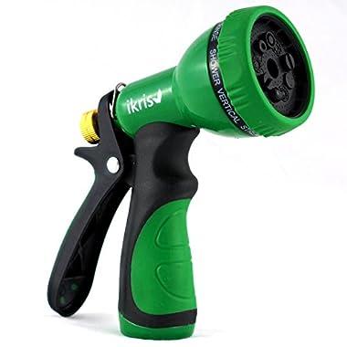 ikris Garden Hose Nozzle 9-Pattern Metal Sprayer with Rubberized ComfortGrip