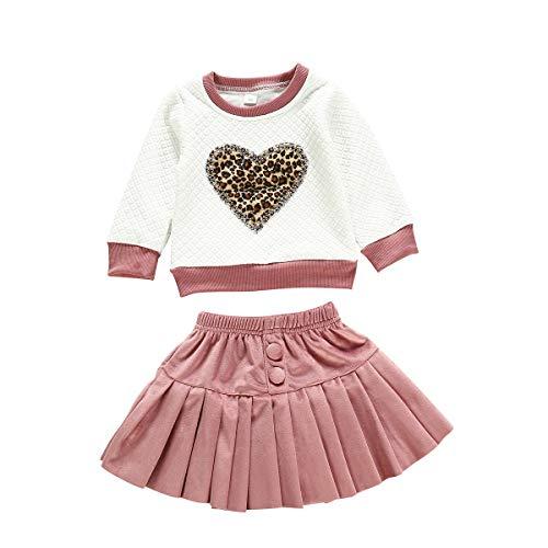 Baby Mädchen Pullover T-Shirts Faltenrock Kleidung Set Herz Leopard Druck Oberseiten Tops mit Rüschen Rock Set Kleinkind Outfits Set, Rosa, 6-12 Monate