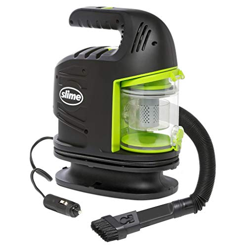 Slime 40058 2-in-1 12V Tire Inflator and Powerful Vacuum - Car Accessory, Air Pump, Portable Car Vacuum in One