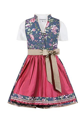 Stockerpoint Mädchen Kinderdirndl Charlotte Kleid für besondere Anlässe, blau-Rose, 134-140