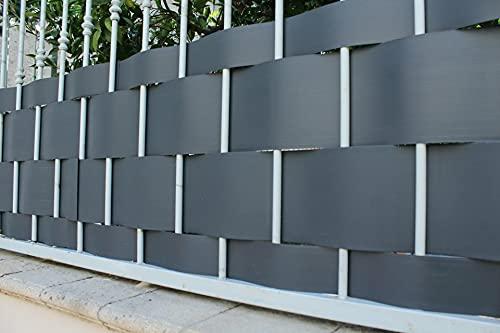 Pinto FERRAMENTA Rete Ombreggiante Pannelli PVC Plastica Frangisole Frangivista Frangivento Telo Telone Recinzioni Giardino Balconi Rete Ombra Privacy H95cm x 2.50mt (5 striscie) Colore Antracite