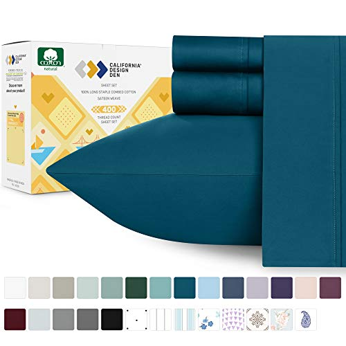 400-Thread-Count Twin XL Sheets Cotton - Fade Resistant Peacock Blue Color 3 Piece Bedding Set, Breathable Sateen Weave Bed Sheet, Elasticized Deep Pocket Fits Low Profile Foam and Tall Mattresses