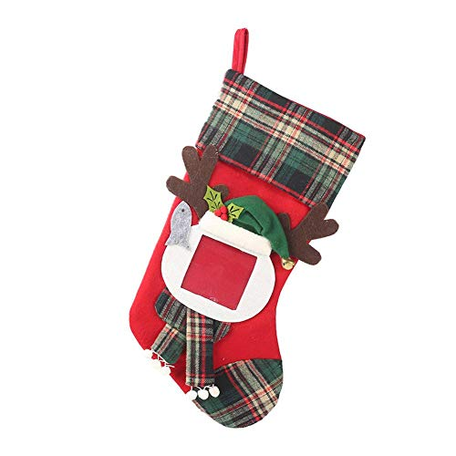 monstera Nueva decoración de Navidad Marco de Fotos Transparente Calcetines de Navidad a Cuadros Bolsa de Regalo...