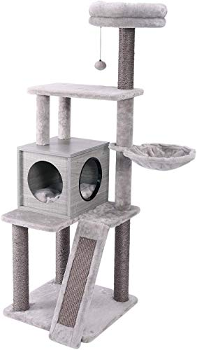 Amazon Brand – Eono Moderne Stabiler Kratzbaume Hölzerne Kratzbäume Sisal Katzenbaum mit Katzenhaus Katzenbett Liegemulde Kätzchen Spielzeug Katzenmöbel Grau 57''