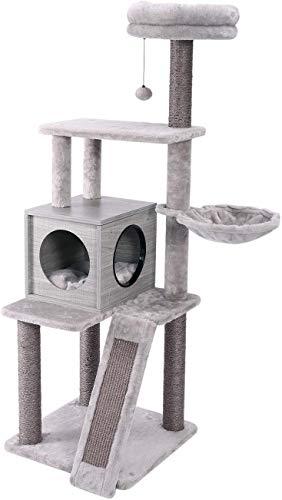 Eono Essentials Moderne Stabiler Kratzbaume Hölzerne Kratzbäume Sisal Katzenbaum mit Katzenhaus Katzenbett Liegemulde Kätzchen Spielzeug Katzenmöbel Grau Höhe 57''