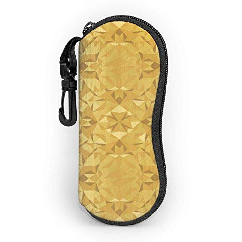 Funda de Gafas Lámina Caleidoscopio Triángulos Grunge Gran Elegante Ultra Ligero Neopreno Suaves viaje Estuche para Gafas de caso Bolsa con Clip de Cinturón