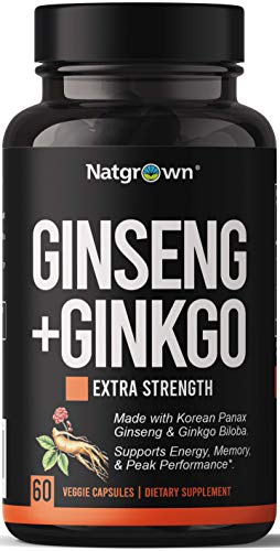 Panax Ginseng + Ginkgo Biloba Supplement Complex - 1000mg Korean Ginseng + 120mg Ginkgo Biloba Extract - Traditionally to Boost Energy, Performance & Support Healthy Brain Function - 60 Vegan Capsules