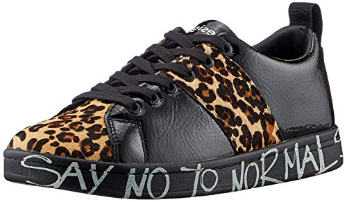 Desigual Damen Shoes_Cosmic_Leopard Sneaker, Black, 41 EU