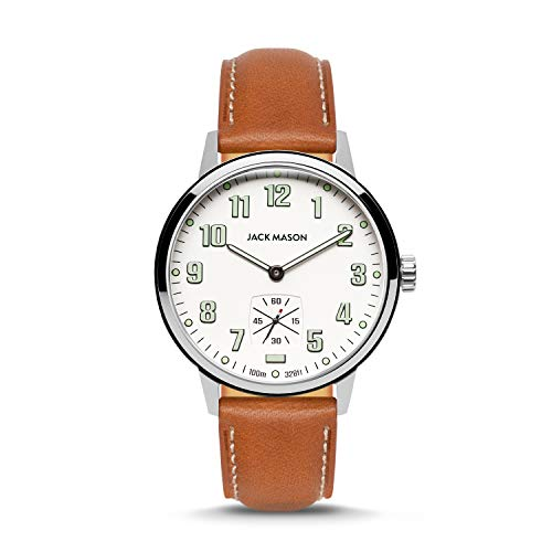Jack Mason Field 3-Hand Stainless Steel White Dial Tan Leather Strap JM-F111-004