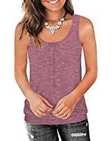 Traleubie Round Neck Workout Tank Tops for Women Casual Sleeveless Shirts Loose Fit Carbon Pink S