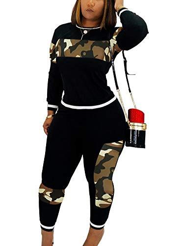 Womens Plus Size 2 Piece Long Set Camo Splicing T-Shirt High Waist Legging Casual Sweatsuit Black XXXL