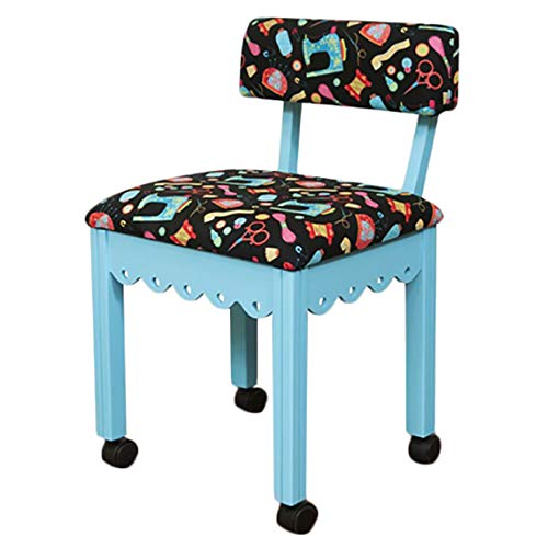 Arrow Wooden Scalloped Base Sewing Chair with Riley Blake Upholstery (Blue/Black)