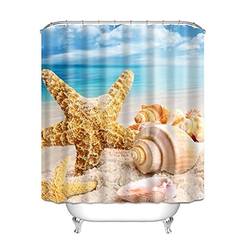 KJCHEN Bath curtain Digital 3D polyester waterproof bathroom curtain beach printer curtain bathroom Bath account to send ring curtain cloth suit (Color : B)