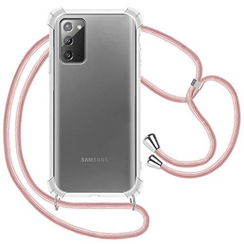 XTCASE Handykette kompatibel mit Samsung Galaxy Note 20 Hülle, Smartphone Necklace Handyhülle mit Band Transparent Schutzhülle Stossfest - Schnur mit Hülle zum Umhängen in Roségold