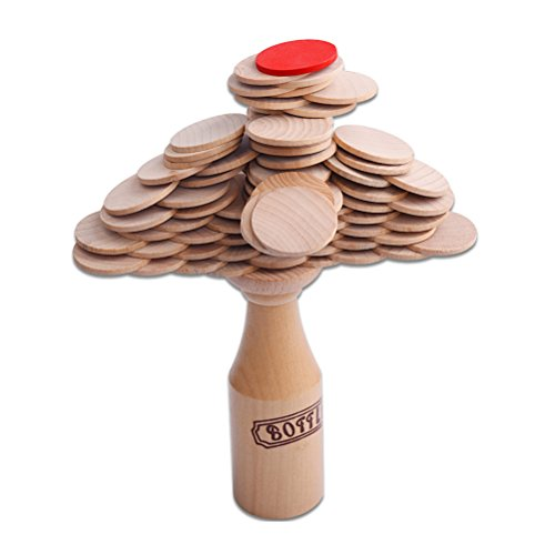 TOYMYTOY Juego de mesa de equilibrio de madera, con botella y monedas, bloques de construcción