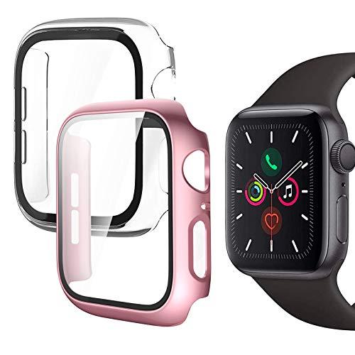 Fundas Apple Watch Serie 6 / SE / Series 5 / Serie 4 40mm con Protector de Pantalla Cristal Templado, 2 Piezas HD Protección Completa Carcasa para iWatch para Mujeres y Niñas - Oro Rosa + Blanco