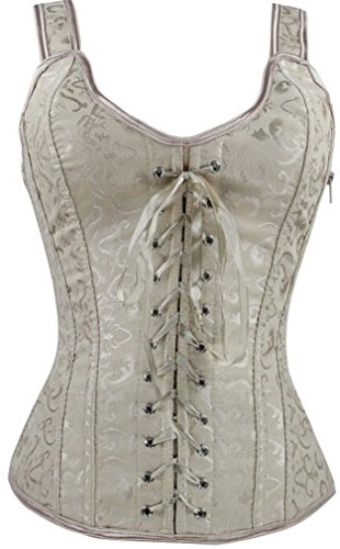 Imilan Women Sexy Boned Lace up Corsets and Strap Bustiers Top (FBA)(L,Apricot)