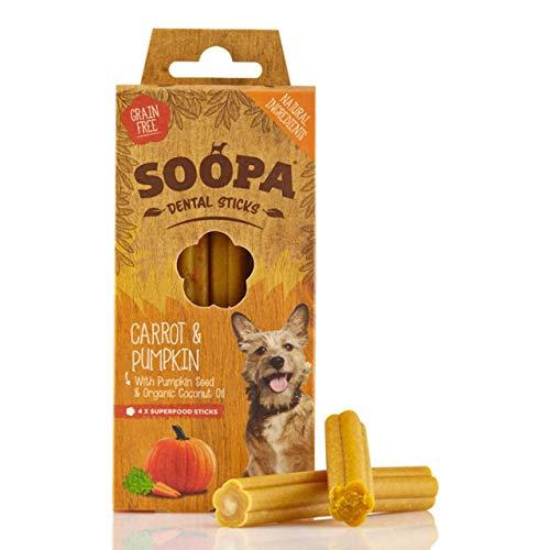 Soopa Bastoncini per i denti per cani, da 100 g, al gusto di zucca/carota