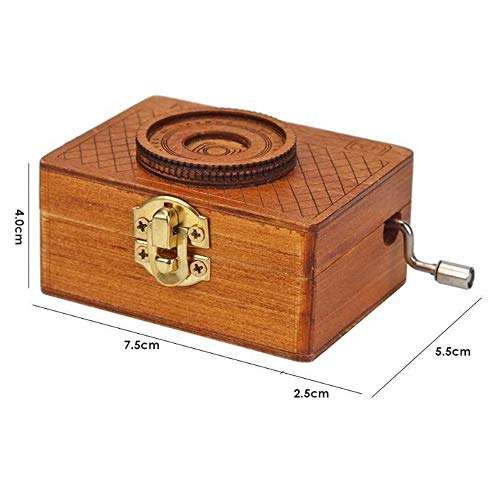 Music Box Retro Camera Shape Houten Hand Gebogen huisvlijt Kinderen Gifts Castle In The Sky Music Theme QPLNTCQ (Color : Dark Brown, Size : Free)