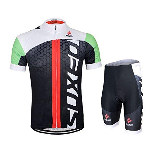 GWELL Männer Fahrradtrikot Set Fahrradbekleidung Atmungsaktiv Fahrrad Trikot Kurzarm + Radhose mit 3D Sitzpolster Schwarz Grün XL