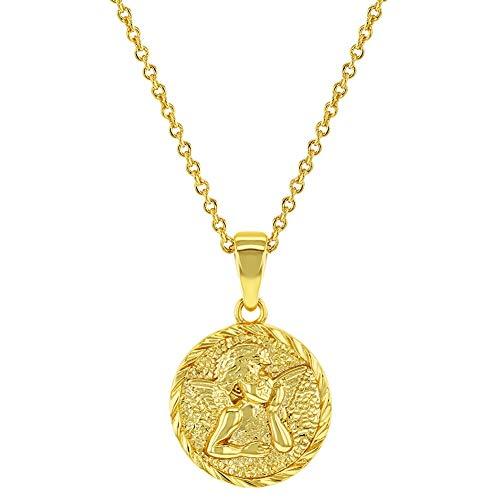 In Season Jewelry - Collar con colgante chapado en oro amarillo de 18 quilates con medalla de ángel de la guarda y bautismo (45,7 cm)