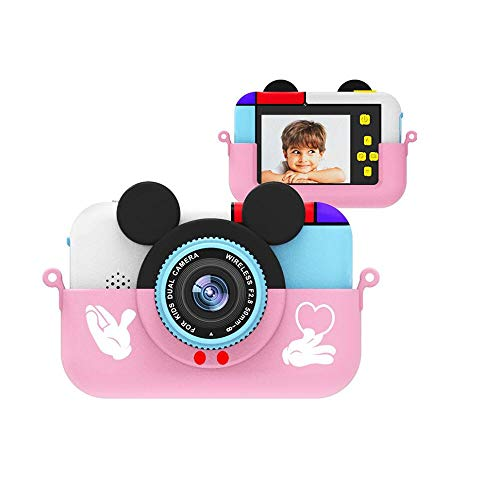 sknonr Kinder Mini-Digitalkamera 2,4-Zoll-IPS-Schirm 1080P HD-Kamera-Video Selfie Mini SLR-Kind-Spielzeug-Kamera Geburtstags-Geschenk (Color : Pink, Size : No SD Card)
