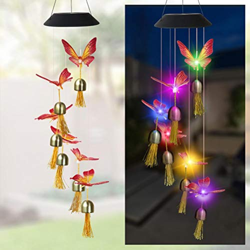 SUPYINI Wind Chime Solar Crystal Ball Waterproof Outdoor Patio Light with Bells 7 Color Changing Wind Chimes for Garden Yard Balcony Window Bedroom Party