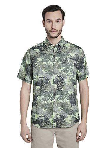 TOM TAILOR Herren Ray Hemd, 22418-green Leaf Design, L