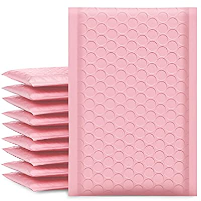 """UCGOU 4x8"""" Light Pink Bubble Mailers Padded Envelopes Shipping Bags 50pcs (Inside Size: 4x7"""")"""