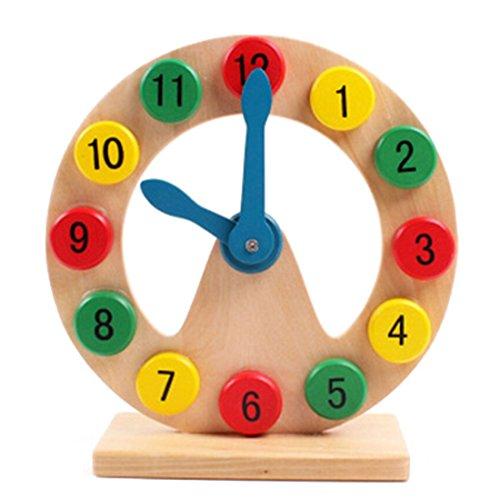 DARLINGTON & Sohns Reloj de madera para niños, juego educativo para aprender la hora y leer el tiempo