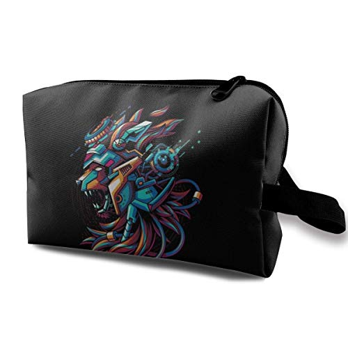 Lion Mocha Creative Travel Makeup Pouch with Wristlet Cosmetic Bags Portable Toiletry Bag with Zipper for Girls Women