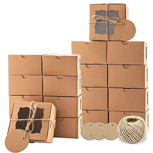 LYFEHACK Cookie Dessert Boxes with Window (4x4x2.5 in.) 24pcs with Labels, Twine for Donuts, Cake Slices, Pastry, Gift Box