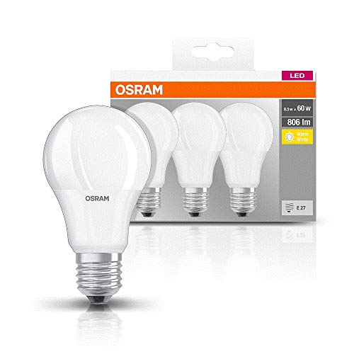 Osram Base Classic A - Lámpara LED, E27, 60W, color blanco (Paquete d