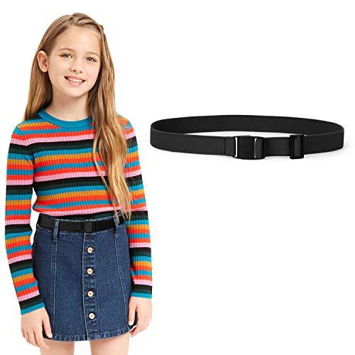 JASGOOD Kids Nickel Free Adjustable Elastic Belts for Pants Children Stretch Belts for Boys and Girls(Suit for waist size below 26Inch,02-Black)
