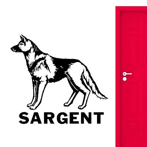 Yaonuli sticker van vinyl, Berger-ras met uw naam van de hond, personaliseerbaar, voor honden, slaapkamer, woonkamer, wandtattoo