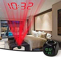 Thinktoo Clock Clock Easter Gifts , Digital LCD Voice Talking Multifunction LED Projection Alarm Clock Temperature, Clock Decorations Accessories