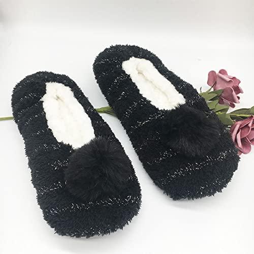 ZZLHHD Gemütliche Slipper,rutschfeste Schuhe mit Taschenabsatz, modische Baumwollpantoffeln aus Plüsch,Lady Flache Hausschuhe thumbnail