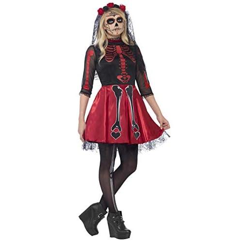 SMIFFYS Costume Diva Giorno dei Morti, comprende Abito e Copricapo