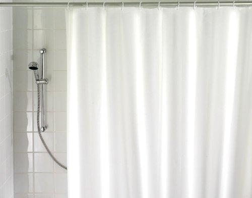 Wenko 19104100 Duschvorhang Uni weiß - wasserdicht, leicht zu pflegen, Kunststoff -180x200cm, Peva, weiß