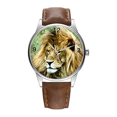 Herrenuhr braun Cortex Quarz Uhr für Männer berühmte Luxus Armbanduhr Quarzuhr für Business Geschenk afrikanische Löwe Armbanduhr