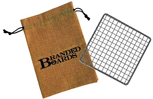 Branded Boards Bushcraft Stainless BBQ Grill Grate, Eco-Friendly Bamboo Cutting Board, Burlap Hemp Drawstring Bag, Mini Camp Knife. Camping, Backpacking, Hunting & Fishing. (Small Grill)