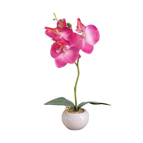 LSTC Fausse Plantes en Pot Moderne Artificielle Plante en Pot Plante en Pot Intérieur Jardin Décor en Plastique Plantes Synthétiques Décorations Grave Rose Red