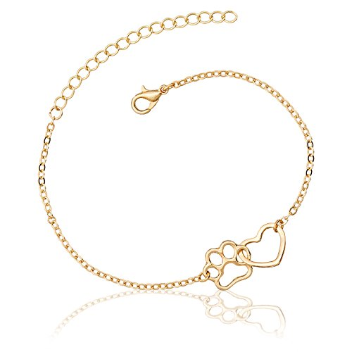 Selia Damen Armband mit Herz Pfoten Anhänger, Hund Armreif für Hundeliebhaber, Armband in der Farbe Gold, Minimalistische Optik, Glänzende Oberfläche, Größenverstellbar