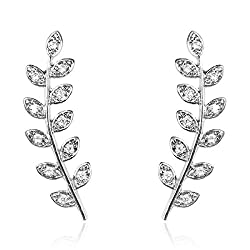 Pave Feather - Silver Rhinestone Pave Ear Crawler Earrings