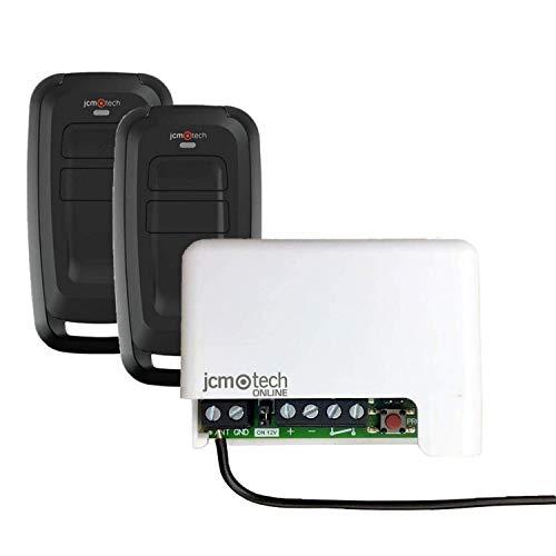 JCM Tech - Conjunto 2 emisores y Receptor Mini BASE 2 MUV - Control de acceso autónomo - Control de acceso para puertas - Código variable con alta seguridad - Kit de Cerradura Inteligente